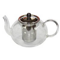 Стеклянный чайник с металлическим ситом, 950 мл.