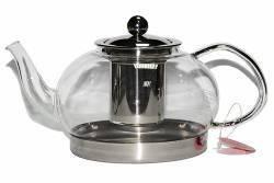 Заварочный чайник стеклянный с металлическим ситом, 1550 мл., фото 2