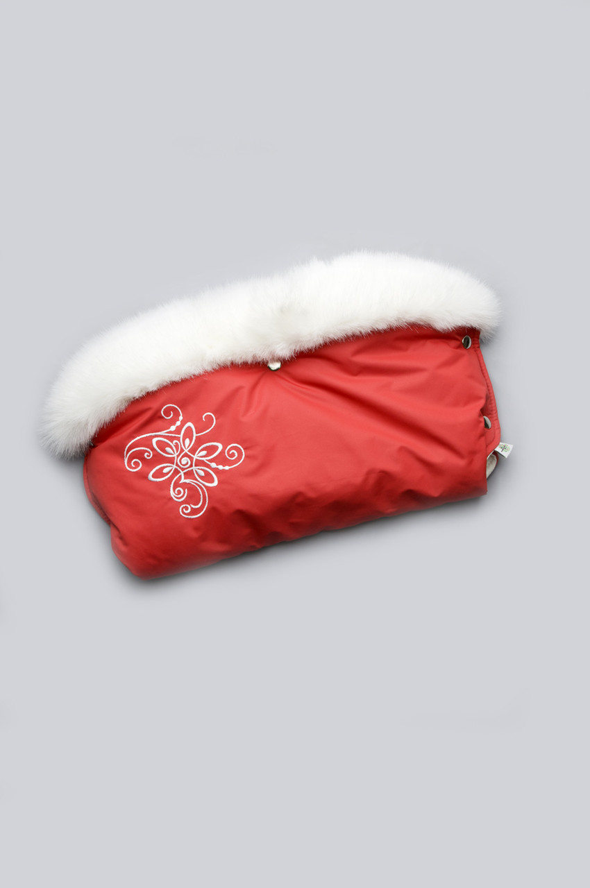 Муфта для рук на коляску с опушкой Красная
