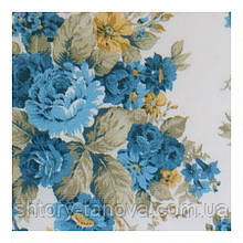 Шторы с крупными синими цветами с тефлоновой пропиткой Турция ширина 180 см Ткани для штор на метраж