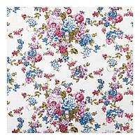 Фиолетово-голубая ткань для штор с цветами