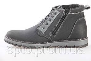Зимние кожаные мужские ботинки на шнурках с молнией, утепленные мехом