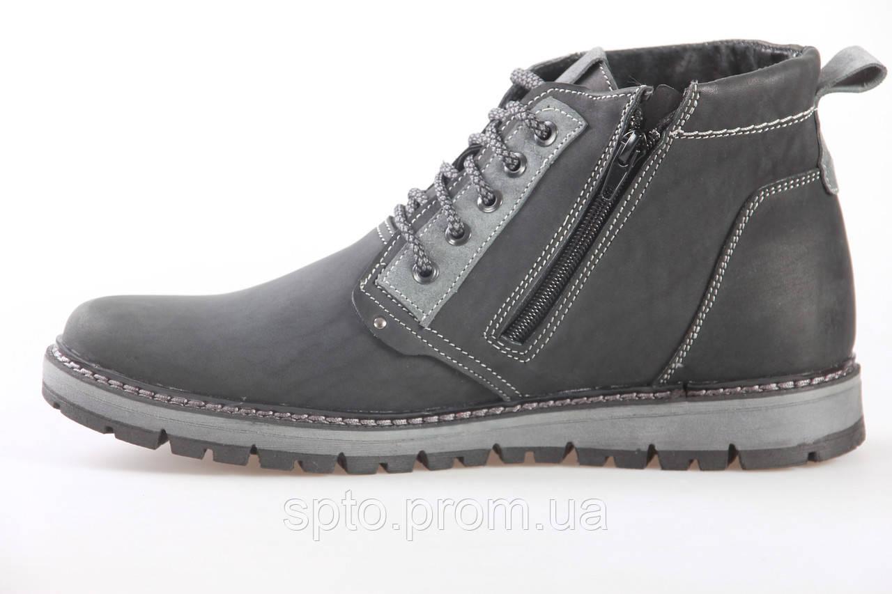 7a3f5af65 Зимние кожаные мужские ботинки на шнурках с молнией, утепленные мехом