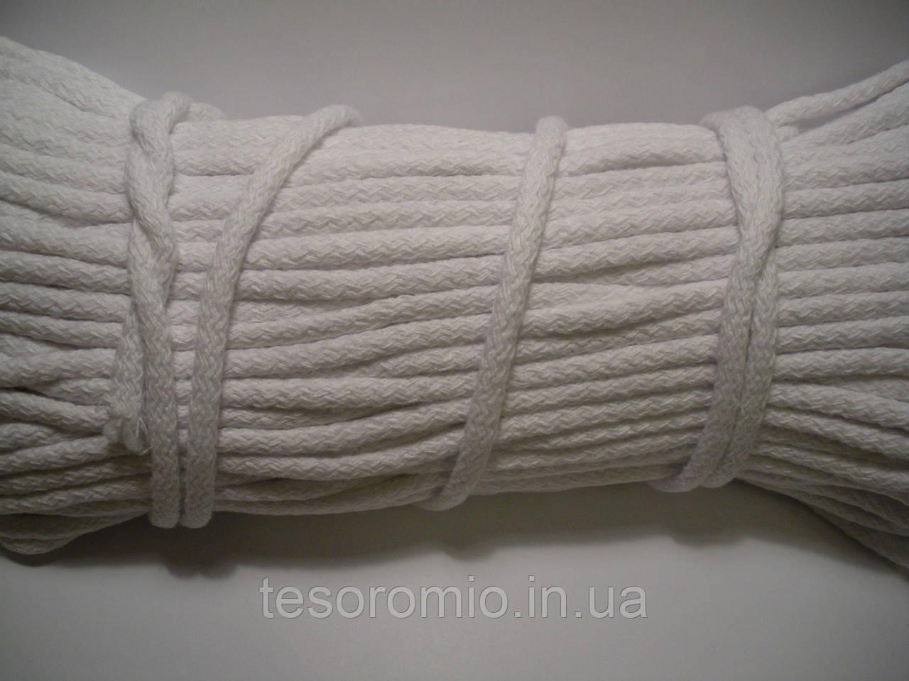 Шнур для одягу бавовняний діаметр 6мм білий