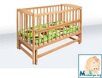 Гойдалка детская кроватка из бука на маятике с откидной боковиной