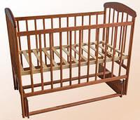 Детская кроватка Наталка с маятником ясень темная