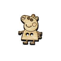 Пуговица деревянная декоративная Свинка Пеппа