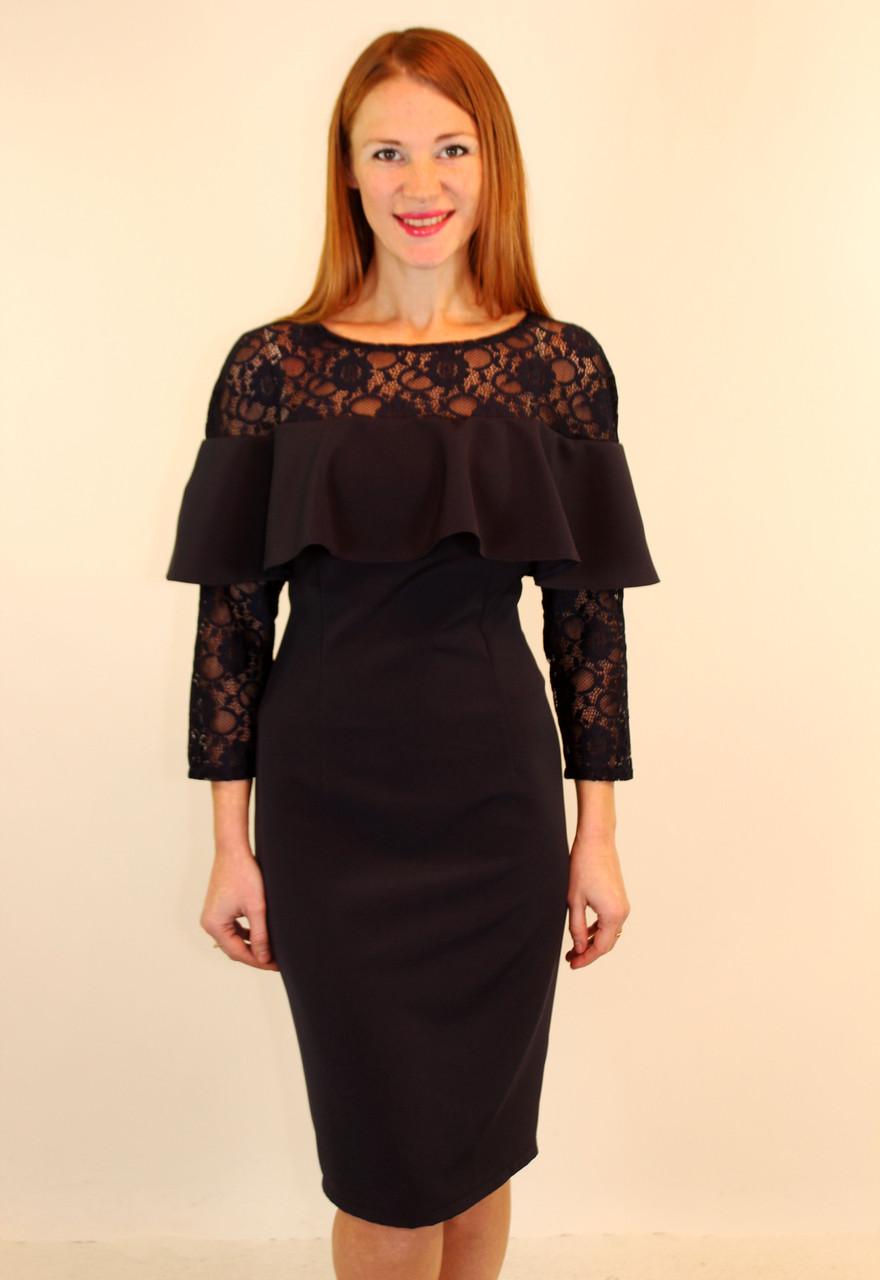 Нарядное вечернее платье с рюшами 46-48-50 р ( синий, черный ) - Оптовый интернет-магазин по продаже женской одежды от производителя GOLS-OPT ( платья, юбки ) в Одессе