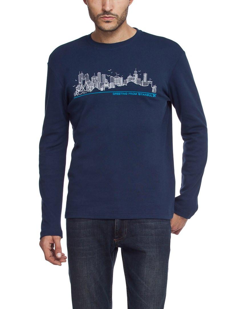 Синего цвета реглан LC Waikiki с надписью Greeeting from Istanbul 34