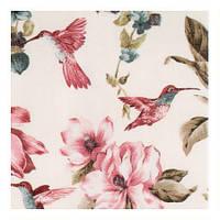 Красивая ткань для штор с цветами и птицами розовый
