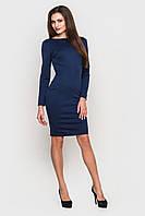 Прямое темно-синее платье до колен с длинными рукавами и выразительной молнией на спине