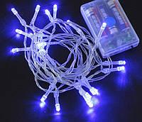 Новогодняя гирлянда 3 метров на батарейках синий