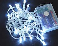 Новогодняя гирлянда 3 метров на батарейках белый, фото 1