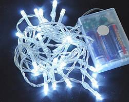 Светодиодная гирлянда 5 метров на батарейках холодный белый ECOLEND