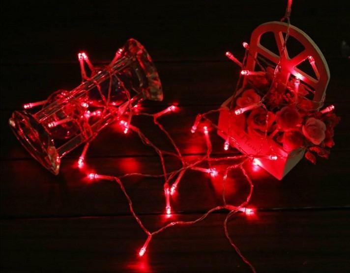 Светодиодная гирлянда 5 метров на батарейках красная