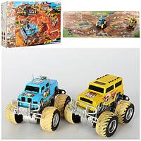 Трек 8888-25 джип 12,5 см (инерционный) 2 шт, поле-пазл, песок (в кульке), формочки, фигурки, в коробке