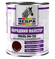 Эмаль ПФ-115, тёмно-коричневая, ТМ «Зебра НМ» / код цвета №588 / по 2,8 кг