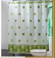 Шторка для ванной и душа 180х200 квадраты (синяя, зеленая)