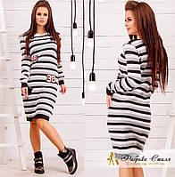 Шерстяное платье женское в полоску
