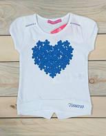 Футболка белая с синим сердечком на девочку 86 см, 92 см, 104 см Турция
