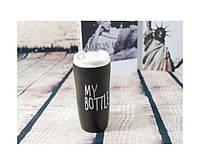 """Термокружка керамическая """"My bottle"""" черная., фото 1"""