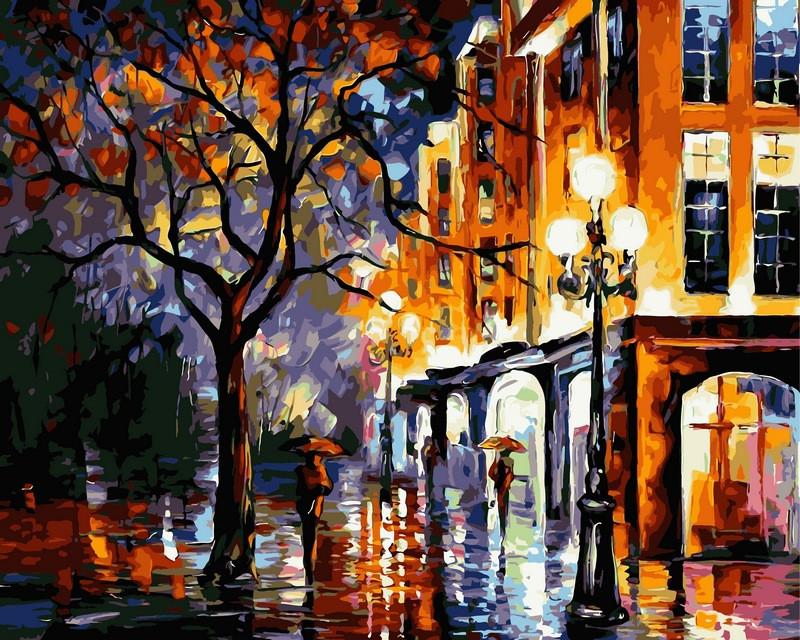 Картина по номерам 40×50 см. Дождь в Майами Художник Леонид Афремов