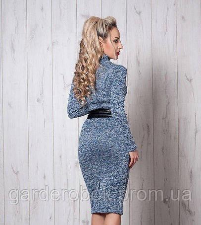 d531815d825 Голубое платье-футляр «Адель» с кожаным поясом