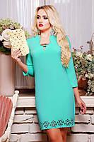 42,44,46,48,50 размеры Праздничное платье Элизабет бирюзовое с перфорацией свободное красивое осеннее короткое