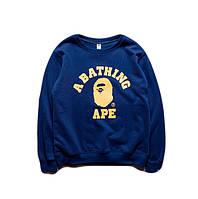 Свитшот BAPE синий с желтым логотипом,унисекс (мужской,женский,детский)