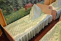 Покрывало для детского сада зеленое размер 70 х 140 см .Рюш 20 см