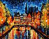 Картина по номерам 40×50 см. Ночь в Амстердаме Художник Леонид Афремов