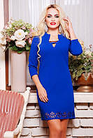 42,44,46,48,50 размеры Вечернее платье Элизабет электрик батал синее женское свободное красивое с перфорацией