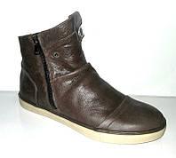 Ботинки-полусапоги зимние мужские кожаные на замочке черные, коричневые Uk0370