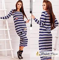 Шерстяное платье женское в полоску миди