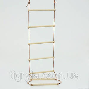 Лестница подвесная деревянная веревочная детская