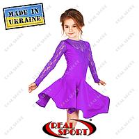Платье рейтинговое бифлекс с гипюром П1642 фиолетовый