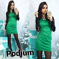 Женское красивое платье с рукавами из гипюра (4 цвета)
