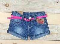 Шорты джинсовые с розовым поясом на девочку 6, 8,10 лет