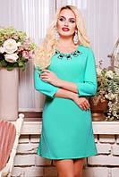 42,44,46,48,50 размеры Весеннее Платье Кларис бирюзовое женское нарядное весеннее короткое