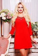 Весеннее Платье Кларис красный 42-50 размеры