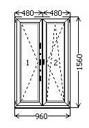 Окно штульповое 960*1560 ламинация