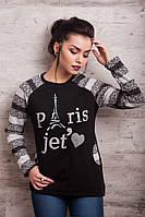 Женский батник черный с удлиненной спинкой Париж.