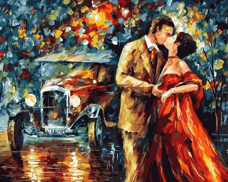 Картина по номерам 40×50 см. Поцелуй из прошлого Художник Леонид Афремов