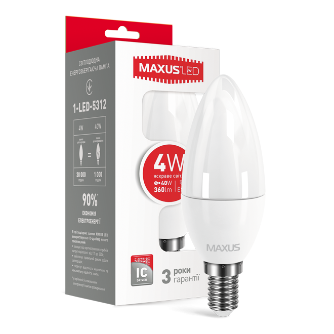 LED лампа MAXUS C37 CL-F 4W 4100K 220V E14 (1-LED-5312)