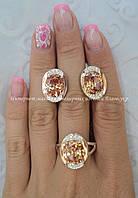 """Серебряный комплект """"Анна"""" кольцо и серьги с золотыми накладками женский, фото 1"""