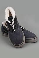 Кеды зимние.Спортивная обувь.Кеды Vans Era Низкие черный бок с серым носком и задником, белой подошвой