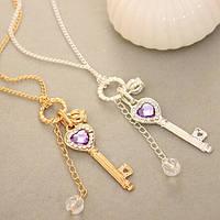 Кулон на цепочке ключик с фиолетовым сердцем и короной, золото и серебро поштучно