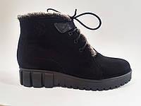 Замшевые женские зимние удобные модные черные ботинки на платформе 36 Fashion Footwear