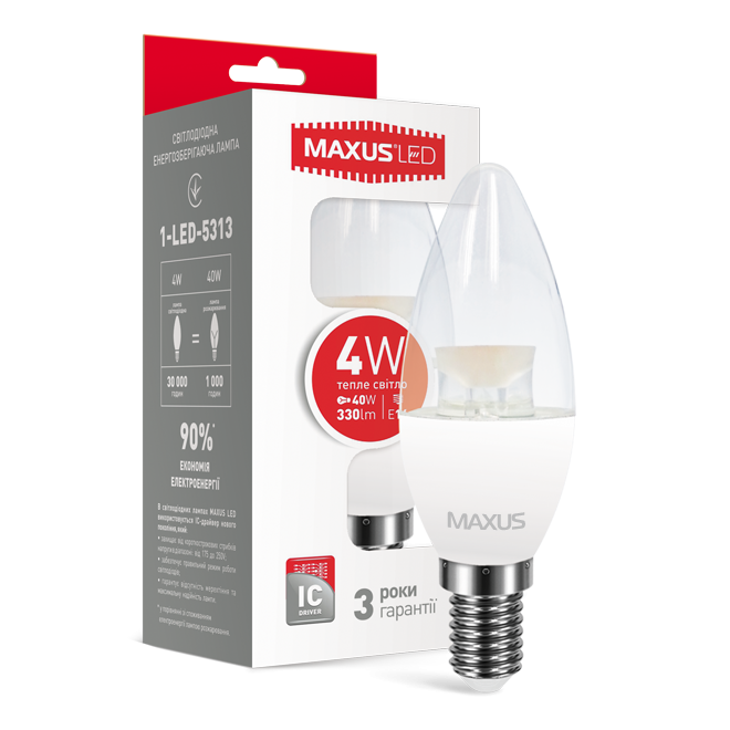 LED лампа MAXUS C37 CL-C 4W 3000K 220V E14 (1-LED-5313)