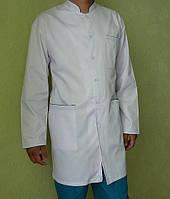 Халат медицинский мужской белый с синим кантом